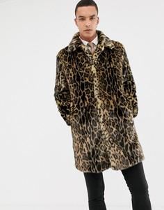 Искусственная премиум-шуба с леопардовым принтом Devils Advocate - Коричневый
