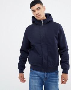 Темно-синяя куртка Харрингтон на молнии с капюшоном ASOS DESIGN - Темно-синий
