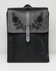 Черный кожаный рюкзак с декоративной отделкой ASOS EDITION - Черный