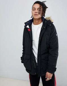 Черная стеганая парка с меховой отделкой на капюшоне Tommy Jeans - Черный