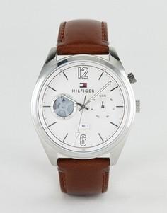 Часы с коричневым кожаным ремешком Tommy Hilfiger 44 мм - Коричневый