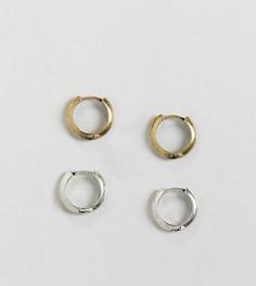 Серьги-кольца в наборе серебристого и золотистого цветов Reclaimed Vintage Inspired - Серебряный