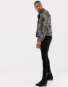 Черная велюровая куртка в стиле вестерн с золотистыми пайетками ASOS DESIGN - Черный