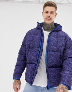 Фиолетовая дутая куртка с леопардовым принтом ASOS DESIGN - Фиолетовый