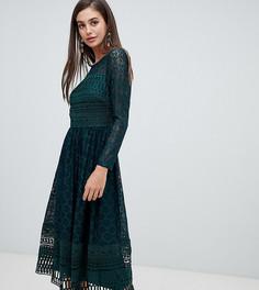 Кружевное приталенное платье миди премиум-класса ASOS DESIGN Tall - Зеленый