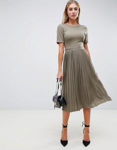 Платье миди с плиссированной юбкой ASOS DESIGN - Зеленый