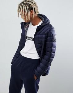 Темно-синяя дутая куртка с капюшоном Napapijri Aerons - Темно-синий
