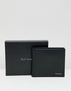 Черный кожаный бумажник с подкладкой в полоску Paul Smith - Черный