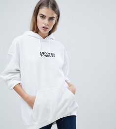 Белый oversize-худи с логотипом Crooked Tongues - Белый