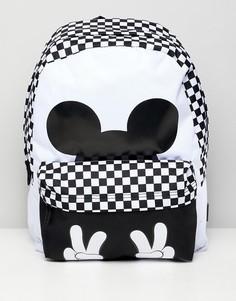 Рюкзак в шахматную клетку с принтом Микки Мауса Vans X Disney - Белый