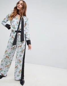 Широкие брюки с принтом Neon Rose - Черный