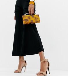 Лакированные босоножки для широкой стопы на каблуке New Look Wide Fit - Коричневый