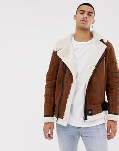 Коричневая куртка с искусственной овечьей шерстью Sixth June - Коричневый