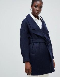 Шерстяное пальто с запахом Selected Femme - Темно-синий
