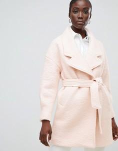 Шерстяное пальто с запахом Selected Femme - Розовый