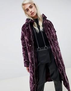 Длинная дутая куртка из мятого бархата ASOS DESIGN - Черный