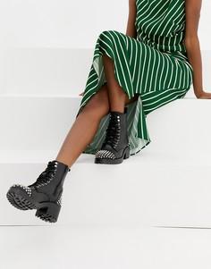 Кожаные ботинки с заклепками Steve Madden Grifter - Черный