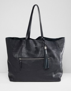 Кожаная сумка-шоппер с карманом на молнии Depp - Черный