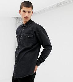 Выбеленная черная джинсовая рубашка в стиле вестерн COLLUSION Tall - Черный