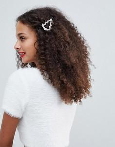 Заколка для волос с новогодней отделкой ASOS DESIGN - Серебряный