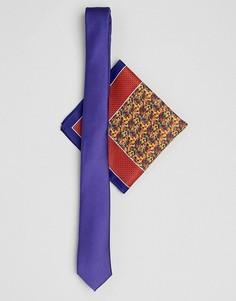 Узкий галстук и платок для нагрудного кармана с мелким принтом ASOS DESIGN - Мульти