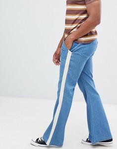 Расклешенные джинсы с полосками по бокам Sacred Hawk - Синий