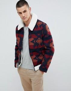 Красная байкерская куртка с искусственной овечьей шерстью с воротником борг ASOS DESIGN - Красный