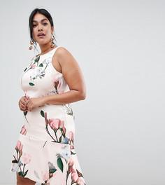 Короткое приталенное платье с цветочным принтом Coast Plus Campbell - Белый