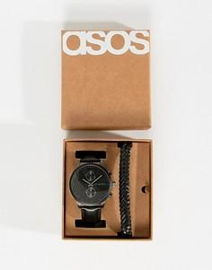 Черные матовые часы и браслет в подарочном наборе ASOS DESIGN Plus - Черный