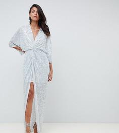 Платье-кимоно с узлом спереди и отделкой пайетками ASOS DESIGN Tall - Серебряный