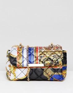Стеганая сумка с платочным принтом ASOS DESIGN - Мульти
