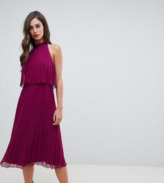 Плиссированное платье миди с американской проймой ASOS DESIGN Tall - Красный
