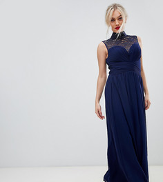 Платье макси с кружевной кокеткой Little Mistress Petite - Темно-синий