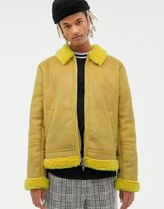 Ярко-желтый бомбер с искусственной овечьей шерстью ASOS DESIGN - Желтый