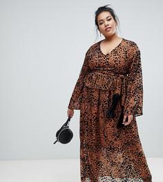cbec20e8afa Платье макси с завязкой на талии и леопардовым принтом Lost Ink Plus -  Мульти