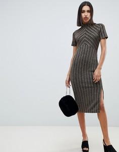 Золотистое платье в полоску ASOS DESIGN - Мульти