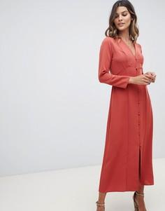 Платье макси на пуговицах с длинными рукавами ASOS DESIGN - Красный
