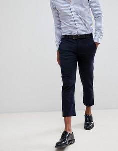 Celio cropped smart trousers in windowpane check - Темно-синий