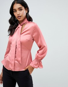 Розовая блузка на пуговицах с атласным бантом Lipsy - Розовый