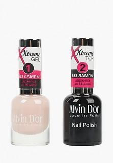 Набор лаков для ногтей Alvin Dor Xtreme extreme (Лак+Top) 2х15мл.5202 тон MIX 02