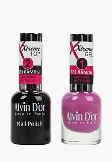 Набор лаков для ногтей Alvin Dor Гель Xtreme extreme (Лак+Top) 2х15мл.5246 тон MIX 46