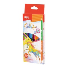 Карандаши цветные Deli EC00520 ColoRun липа 24цв. 2-х сторонние коробка/европод. (12шт)