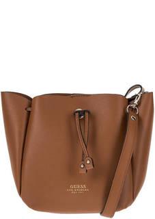 Маленькая коричневая сумка с одним отделом Guess