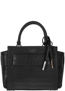 Черная сумка через плечо с выделкой под рептилию Guess
