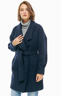 Синее полушерстяное пальто на кнопках Selected