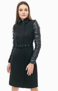 Легкое пальто черного цвета с ремнем Marciano Guess