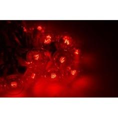 Гирлянда neon-night led galaxy bulb string 10м, черный каучук, 30 ламп х 6 led красные 331-322