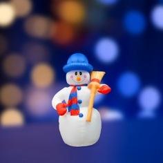 Надувная световая фигура neon-night снеговик с метлой, 120см, внутренняя подсветка 3 лампы 511-121