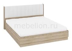 Кровать двуспальная Ларго СМ-181.01.004 дуб сонома/белая кожа Мебель Трия