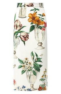 Шелковая юбка-карандаш с принтом Dolce & Gabbana